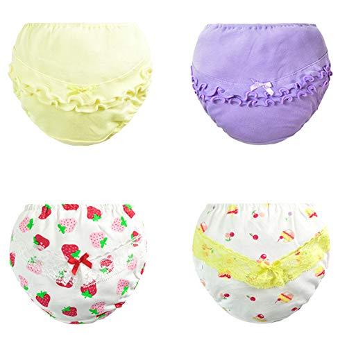 Pantalones de Entrenamiento para Bebé 4 Paquetes, Morbuy Niños Niñas Bragas de Aprendizaje Reutilizable para niños Pequeños de Algodón pañales Ropa Interior (E,120# / 2-3 años)