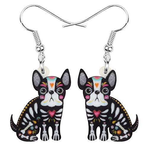 DOWAY Acrylic Halloween Sweet Sitting French Bulldog Dog Earrings Dangle Drop Pet Jewelry for Women Girls Charm Gift (Black)