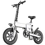 J&LILI Bicicleta Eléctrica con Bicicleta Eléctrica, Bicicleta Eléctrica De 14'/ 16' Pulgadas con 250W / 36V, 5.2Ah, Batería De Litio 7.8AH, 25 Km/H De Alta Velocidad,Blanco,16'/7.8Ah