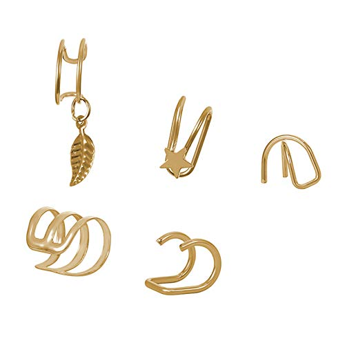 DAIHUI 5Pcs Simple U-Shaped Double Layer Non-Pierced Earrings Accessories For Men Women(Gold Color)