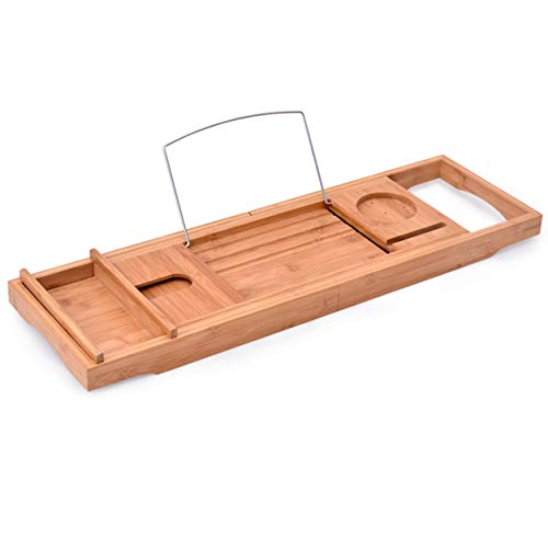 Bamboe badkuip voor badkuip - bamboebad als badkuip Caddy boekenhouder - badkuip standaard voor wijnglas food tablet - voor luxe bad