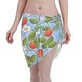 FXSHUNONE Women Beach Sarongs Sheer Cover Ups, Strawberries Daisies and Ladybugs Chiffon Bikini Wrap Skirt for Swimwear Black