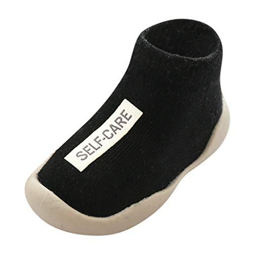 Calzado Casual Infantil Zapatos De Goma Antideslizantes Calcetines De Punto Zapatos De Casa OtoñO Nuevas Botas Desnudas Zapatos para BebéS Y NiñOs ReciéN Nacidos Zapatos De Primer Paso(Negro,25EU)