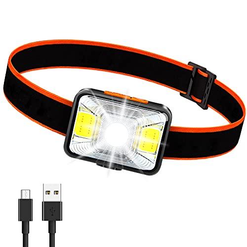 Lampada Frontale LED,Lampada da Testa Ricaricabile 1000 mAh 1800 Lux Super Luminosa con 5 Modalità di Luce Torcia da Testa IPX5 Impermeabile Leggera per Pesca, Campeggio, Ciclismo, Caccia,Trekking