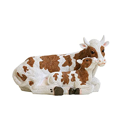 YONGMEI Outdoor Garden Ornaments Figurines, Waterproof Resin Animal Cow Garden Decorations, Farmhouse Lawn Patio Courtyard Pastoral Decoration (Size : Mother and child cow)