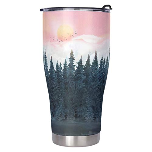 Sunset Forest Reusable Tumbler for Hot Drink Stainless Steel Insulated Travel Mug for Coworker Double Wall Water Bottle with Lid Friendship Gift white 30oz