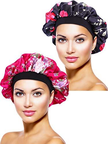 2 Piezas de Gorro de Dormir de Noche de Satén Cubierta de Cabeza para Mujeres Chicas Dormir (Flor Negra Impresa, Flor Roja Rosa Impresa)