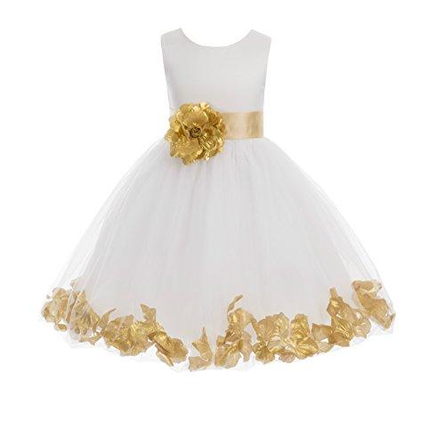Ivory Tulle Rose Floral Petals Toddler Flower Girl Dresses Bridal Gown 302T 8