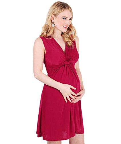 KRISP - Vestito da donna con nodo per maternità, per allattamento, gravidanza Rosso scuro [piano] 42