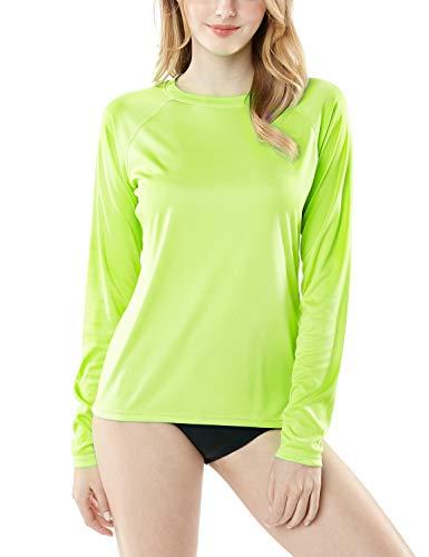 TSLA Damen UPF 50+ Langarm-Schwimmen-Hemd, UV/Sonnenschutz Rash Guard, Regular-Fit Quick Dry Wasser Hemden, Fss04 1pack - Lime, M