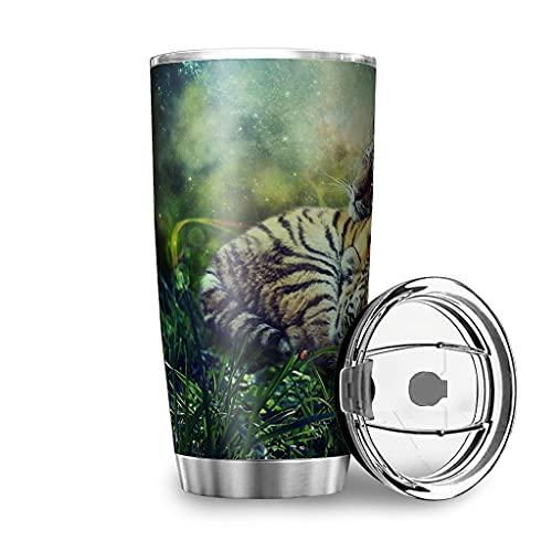 Dessionop Botella de agua Tumbler Fantasy Tiger y Cub Space Impresión Auto Botellas de agua 20oz antigoteo Tapa Blanca 600 ml