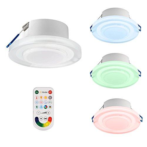 TEVEA-Faretto Led-RGBW-Luce per ogni umore-12scenen modalità Party lampada da lettura-Più recente tecnologia LED-Dimmerabile con Telecomando 3er Pack mit Fb