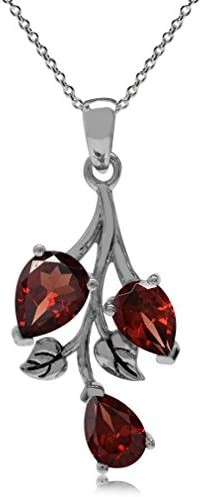 Silvershake 2 85ct Natural Garnet 925 Sterling Silver Leaf Pendant with 18 Inch Chain Necklace product image