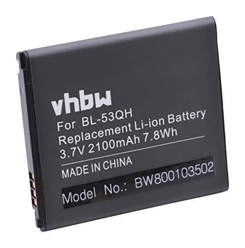 vhbw Li-Ion batteria 2100mAh (3.7V) per cellulari e smartphone LG Optimus 4X HD P880, F5 P875, L9 P760, Life L-02E, LTE II, LTE II F160I