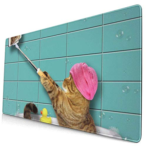 Mousepad Bathing Cat Schaumbad in der Badewanne Selfies Funny Kitten Gaming Mouse Pad Rechteck rutschfeste Gummi Mauspads Mousepads Matte für Computer Laptop Office Home