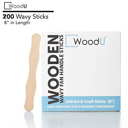 WoodU Craft Wood Fan Sticks, 200Pc, Wavy Jumbo Handle 8