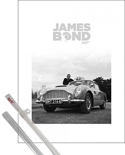1art1 James Bond 007 Kunstdruck (80x60 cm) Sean Connery, Aston Martin DB5 Inklusive Ein Paar Posterleisten, Transparent