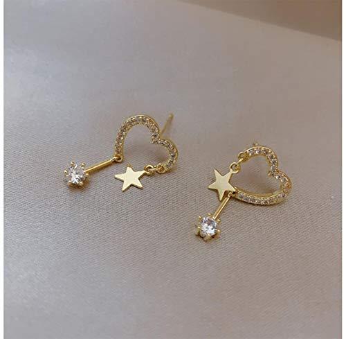 liuliu Nuevos Pendientes de botón de corazón de Cristal pavimentado exquisitos creativos para Mujeres Regalos de Marca de Corea Moda Vintage Estrella Colgante Regalo