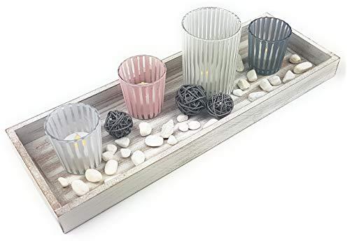 mygoodstyle Deko Set Holz Tablett Weiß Shabby Chic eckig mit 4 Glas Teelichthalter Windlicht und Dekomaterial Steine Bastkugeln Geschenkset
