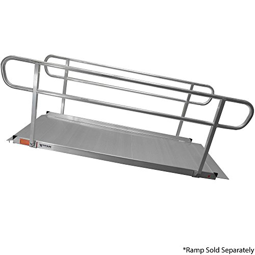 Titan Ramps Wheelchair Entry Ramp Handrails Only 8' Brushed Aluminum