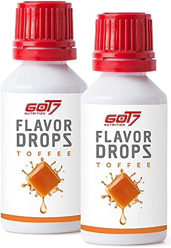 GOT7 FLAVOR DROPS - Saborizante sin calorías para alimentos y bebidas - Perfecto para perder peso - 2x 30 ml (Toffee)