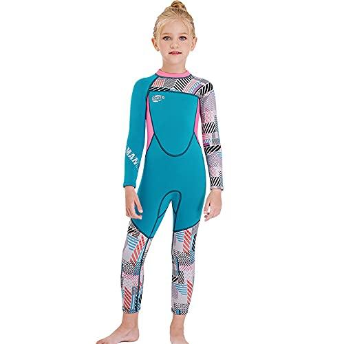 LEAMER Traje de neopreno para niños de 2,5 mm de neopreno de manga larga de cuerpo completo térmico de protección contra erupciones traje de baño buceo, traje de buceo de buceo con protección solar