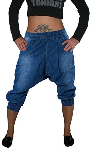 Miss One Damen Capri Aladin Sarouel Jeans Hose, Dehnbund, M-705, Blue Used, Gr.36 S