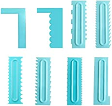 8 Pack Cake Smoother Scrapper Tool Set Cake Edge Decorating Comb Icing Buttercream Frosting Smoother Scraper Baking Spatula Tools for Mousse Butter Cream Cake Decorating