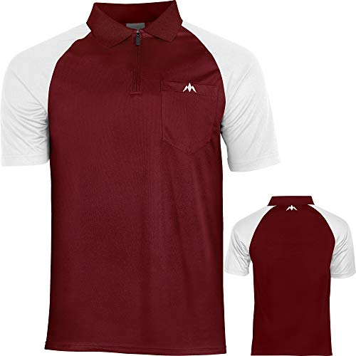 Mission Exos Cool SL Darts Shirt 9 Farben Größen Sm-5xl Dart Pocket Polo Shirt, rot / weiß, XL Extra Large