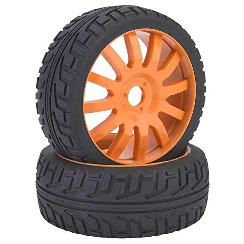 VGEBY1 2 Piezas de Llantas, neumáticos de Goma para bujes de Ruedas de Autos de Carreras para 1/8 en Carretera RC(Naranja)