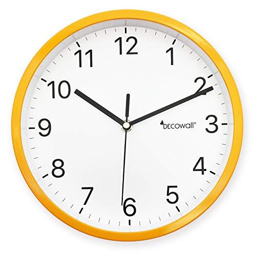 DECOWALL DSHC-H23Y 8.8' Non-ticchettio e Silenzioso Moderno Orologio da Parete Fai Da Te per Soggiorno Camera da letto Ufficio Cucine (22.5cm, Giallo)
