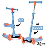 Lascoota 2-in-1 Kick Scooter with Removable Seat Great for Kids & Toddlers Girls or Boys – Adjustable Height w/Extra-Wide Deck PU Flashing Wheels for Children from 2-14 Years Old (Sky)