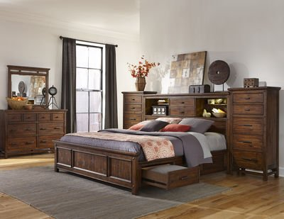 Intercon Wolf Creek King Storage Bed w/ Bookcase Headboard (Includes 2 Towers)