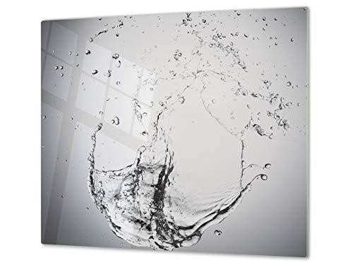 Planche de cuisine en VERRE trempé – Planche à découper en verre – Couvre-plaques de cuisson – UNE PIÈCE (60x52 cm) ou DEUX PIÈCES (30x52 cm chacune);D02 Série Eau: Gouttes D'Eau 1