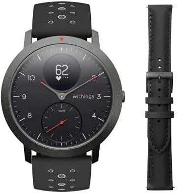 Withings Steel HR Sport - Multisport Hybrid Smartwatch with Leather Wristband