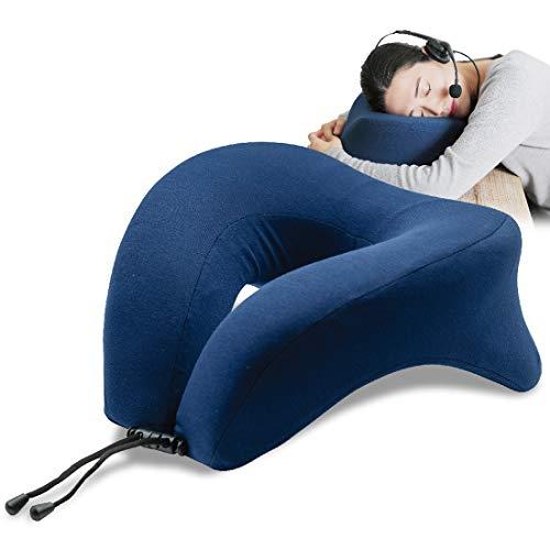 【うつぶせ凄快適】昼寝枕 HIRUNEGAO デスク まくら うつ伏せ おひるねピロー 低反発 首まくら 快眠 (ブルー)