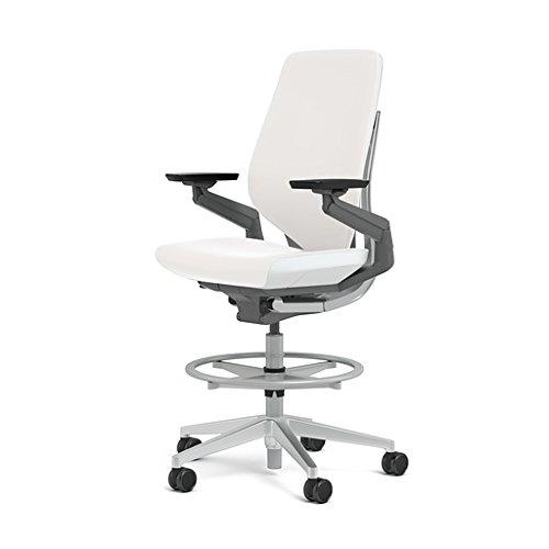 Steelcase Gesture 442 Stool Chair - White Elmosoft Leather, Shell Back, Light on Light Frame