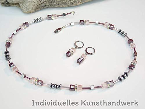 Handgemachte Glas Perlen Würfel Kette kombiniert mit Hämatit Plättchen und Glasstäbchen, Edelstahl Verschluss
