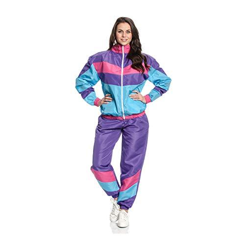 Kostümplanet 80-er Jahre Kostüm Damen Trainingsanzug Aerobic Outfit 80s Motto-Party Jogginganzug Bad Taste Mode Fasching lila Größe 40/42