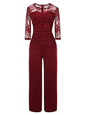 LSAME Women's Elegant Lace Spliced Playsuit Cocktail High Waisted Wide Leg Long Romper Jumpsuit (Wine Red, Large)