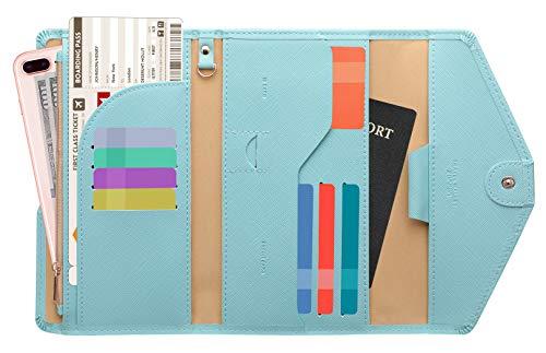 Zoppen Ver. 4 Reiseetui, RFID-blockierend, Ausweis, Reisepass, dreifach faltbar, Dokumenthalter, #23 Paradise Blue (Blau) - TG001