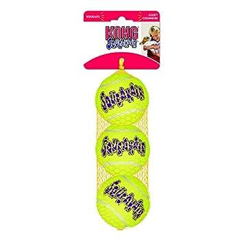 KONG - Squeakair Balls - Balle de Tennis couineuse, n'abîme Pas Les Dents - pour Chien Taille Moyenne (3 Paquets)