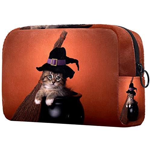Bolsas de maquillaje divertidas para Halloween, diseño de gatito con temática de bruja