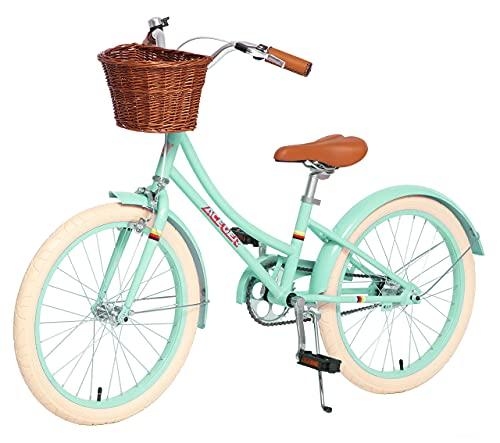 ACEGER Girls Bike with Basket, Kids Bike for 6-9 Years, 14 inch with Training Wheels, 16 inch with Training Wheels and Kickstand, 20 inch with Kickstand.