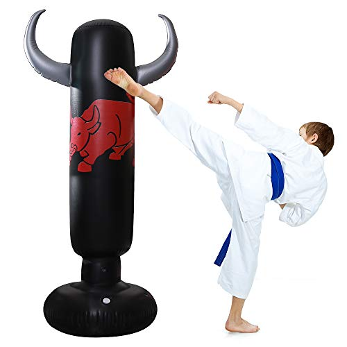 QIQU 63inch Inflatable Kids Punching Bag-Free Standing Boxing Bag,Ox Horn Inflatable Punching Bag for Kids,Big Boxing Toy Youth Boxing Bag (Silvery)
