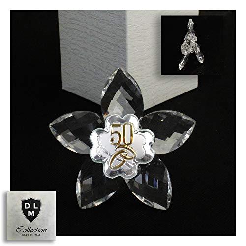 DLM30633 Icona Fiore in Cristallo con Quadrifoglio Coppia FEDI 50 Anniversario Nozze d'oro Cinquantesimo bomboniera