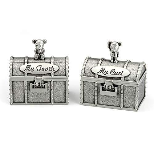 Mogokoyo Metall Milchzahndose Wackelzahn Milchzähne Zähne/Lanugo Box Souvenir Aufbewahrungsbox für Mädchen & Junge TaufeGeburt Geschenk (Schublade)