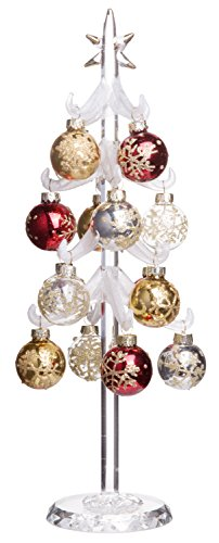 Snowy White Christmas Tree, Mini Glass Decoration with Removable Sphere Ornaments, Holiday Season Décor, 12-inch