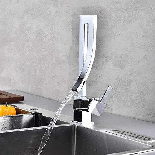 Cuarto de baño de latón grifo del lavabo del lavabo de la cascada sola manija grifo mezclador de agua fría y caliente baño grifos del fregadero grifo de la cascada de drenaje