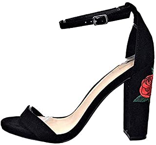 Maybest Women Summer Elegant Open Toe Sandals Rose Embroidery Chunky Heel Sandal High Heel Ankle Strap Shoes